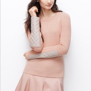 Ann Taylor Blush pink Sweater Faux leather patches